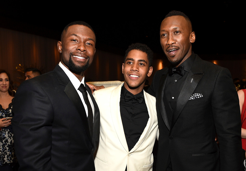 . Trevante Rhodes, from left, Jharrel Jerome and Mahershala Ali attend the Governors Ball after the Oscars on Sunday, Feb. 26, 2017, at the Dolby Theatre in Los Angeles. (Photo by Al Powers/Invision/AP)