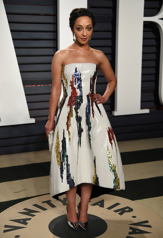 . Ruth Negga arrives at the Vanity Fair Oscar Party on Monday, Feb. 27, 2017, in Beverly Hills, Calif. (Photo by Evan Agostini/Invision/AP)