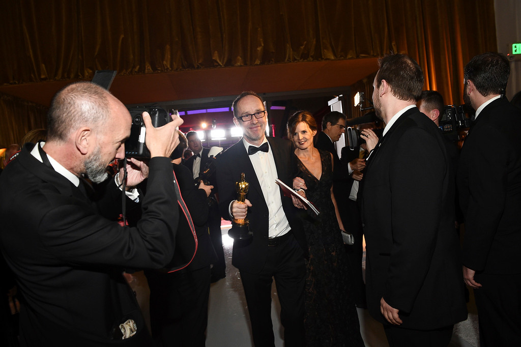 """. John Gilbert, winner of the award for best film editing for \""""Hacksaw Ridge\"""", attends the Governors Ball after the Oscars on Sunday, Feb. 26, 2017, at the Dolby Theatre in Los Angeles. (Photo by Al Powers/Invision/AP)"""