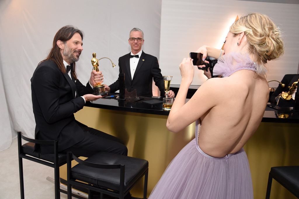 . HOLLYWOOD, CA - FEBRUARY 26:  Cinematographer Linus Sandgren (L), winner of the award for Cinematography for \'La La Land,\' attends the 89th Annual Academy Awards Governors Ball at Hollywood & Highland Center on February 26, 2017 in Hollywood, California.  (Photo by Kevork Djansezian/Getty Images)