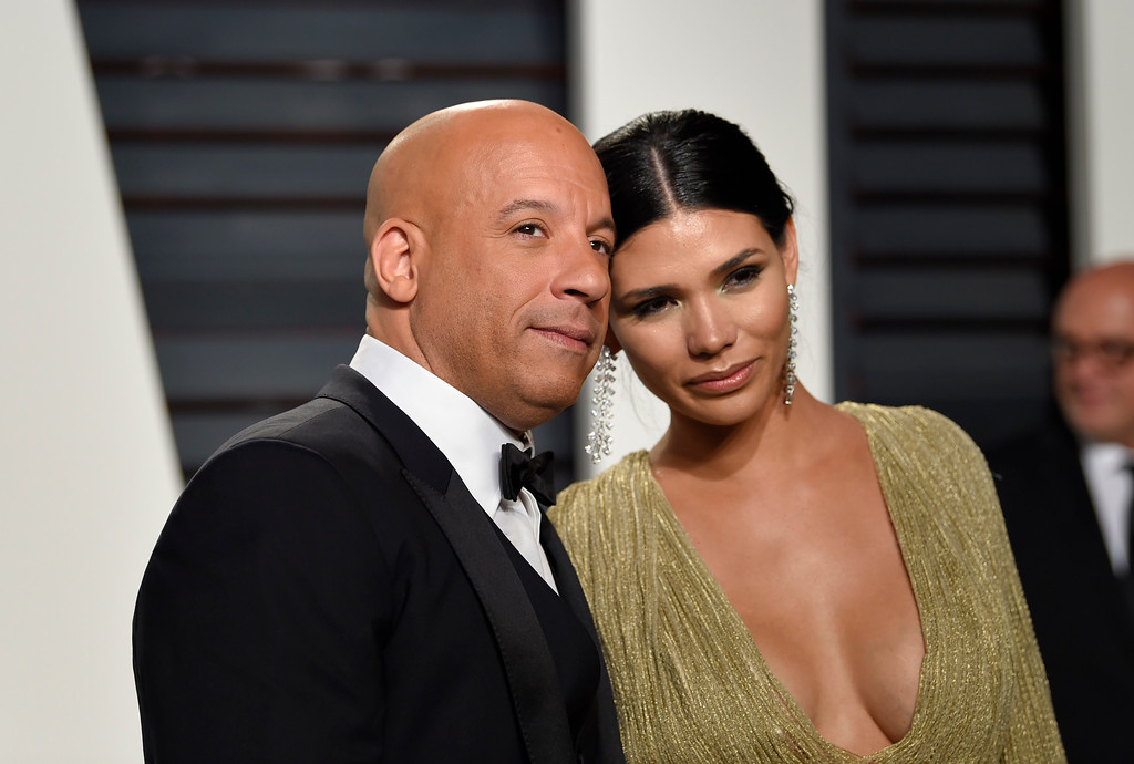 . Vin Diesel, left, and Paloma Jimenez arrive at the Vanity Fair Oscar Party on Monday, Feb. 27, 2017, in Beverly Hills, Calif. (Photo by Evan Agostini/Invision/AP)