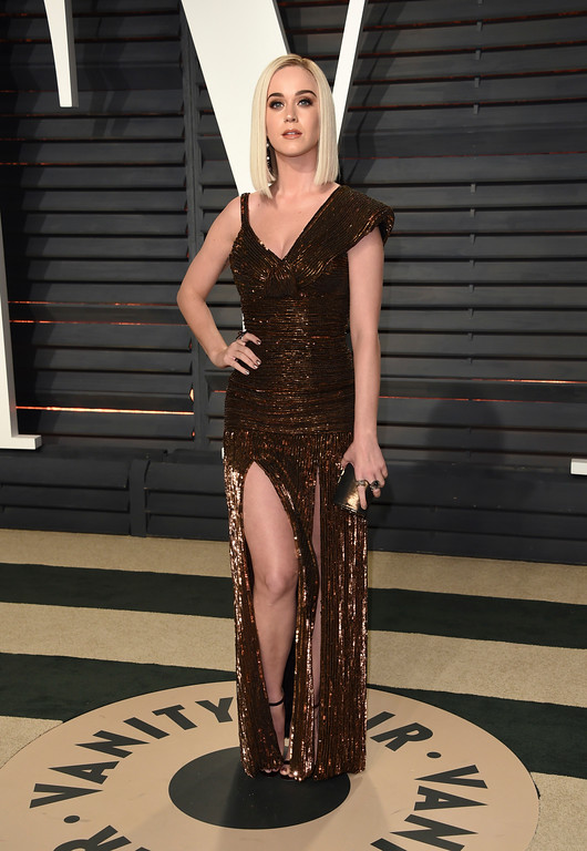 . Katy Perry arrives at the Vanity Fair Oscar Party on Sunday, Feb. 26, 2017, in Beverly Hills, Calif. (Photo by Evan Agostini/Invision/AP)