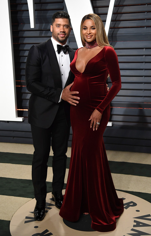 . Russell Wilson, left, and Ciara arrive at the Vanity Fair Oscar Party on Sunday, Feb. 26, 2017, in Beverly Hills, Calif. (Photo by Evan Agostini/Invision/AP)