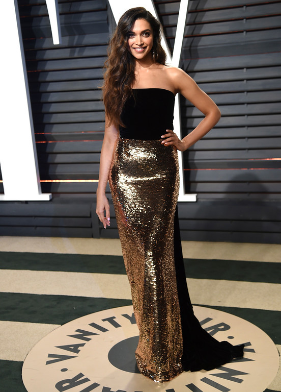 . Actress Deepika Padukone arrives at the Vanity Fair Oscar Party on Sunday, Feb. 26, 2017, in Beverly Hills, Calif. (Photo by Evan Agostini/Invision/AP)