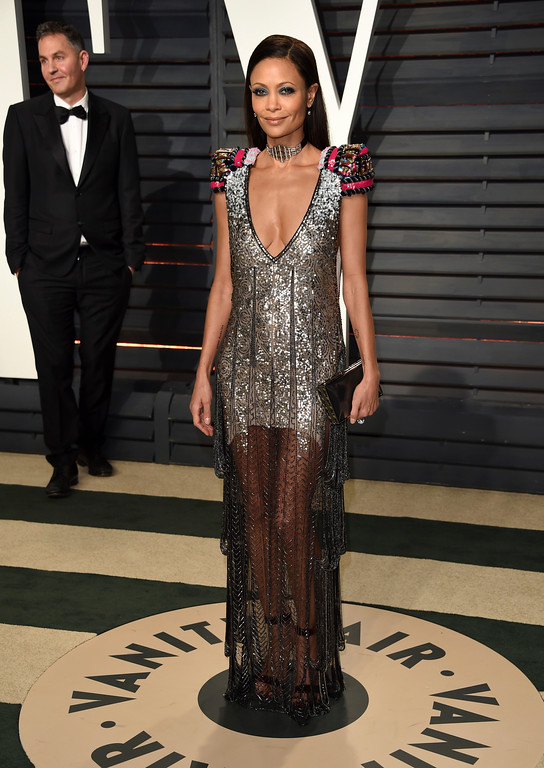 . Thandie Newton arrives at the Vanity Fair Oscar Party on Sunday, Feb. 26, 2017, in Beverly Hills, Calif. (Photo by Evan Agostini/Invision/AP)