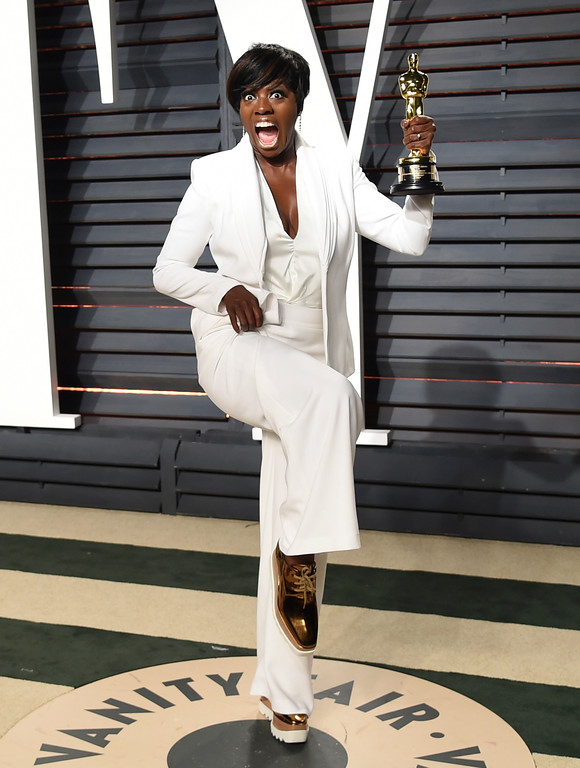 . Viola Davis arrives at the Vanity Fair Oscar Party on Monday, Feb. 27, 2017, in Beverly Hills, Calif. (Photo by Evan Agostini/Invision/AP)