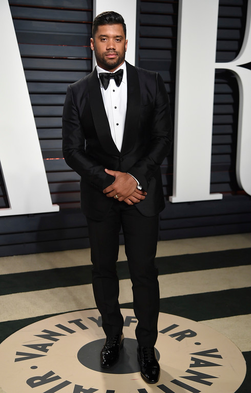 . Russell Wilson arrives at the Vanity Fair Oscar Party on Sunday, Feb. 26, 2017, in Beverly Hills, Calif. (Photo by Evan Agostini/Invision/AP)