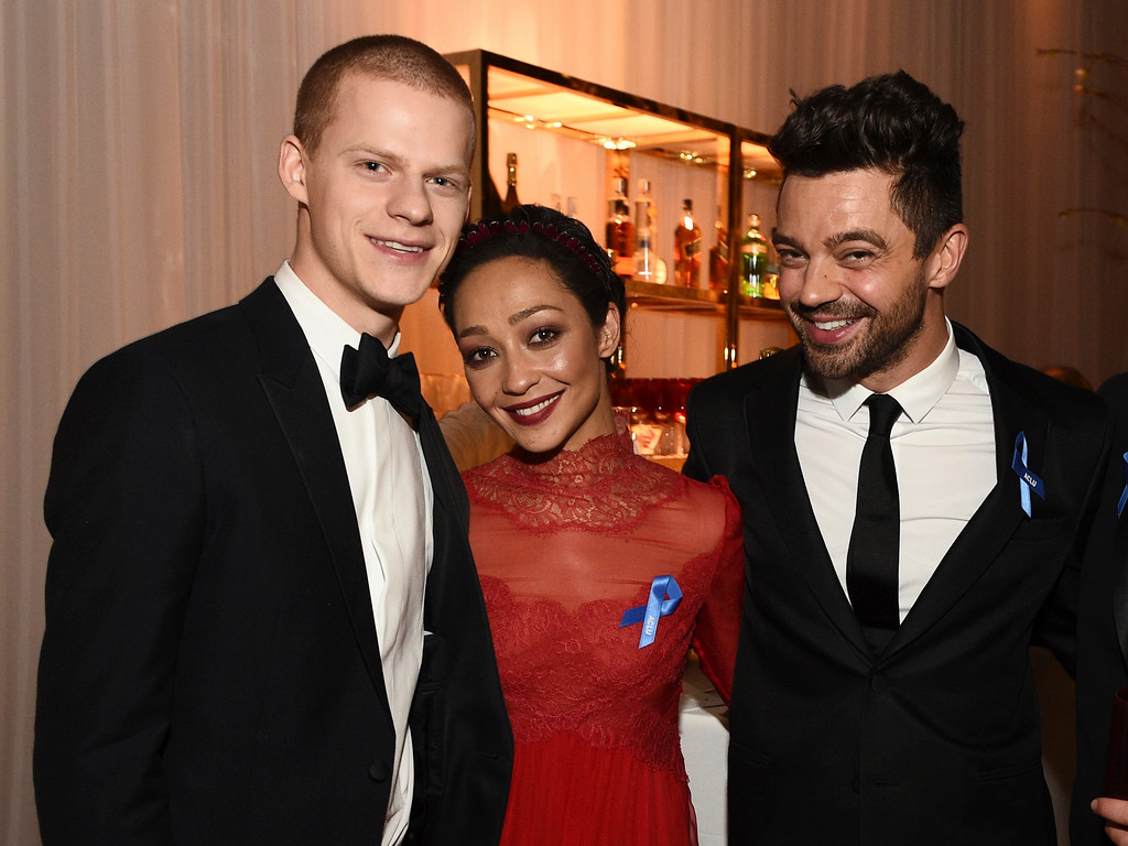 . Lucas Hedges, from left, Ruth Negga and Dominic Cooper attend the Governors Ball after the Oscars on Sunday, Feb. 26, 2017, at the Dolby Theatre in Los Angeles. (Photo by Al Powers/Invision/AP)