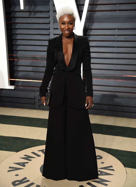 . Actress Cynthia Erivo arrives at the Vanity Fair Oscar Party on Monday, Feb. 27, 2017, in Beverly Hills, Calif. (Photo by Evan Agostini/Invision/AP)