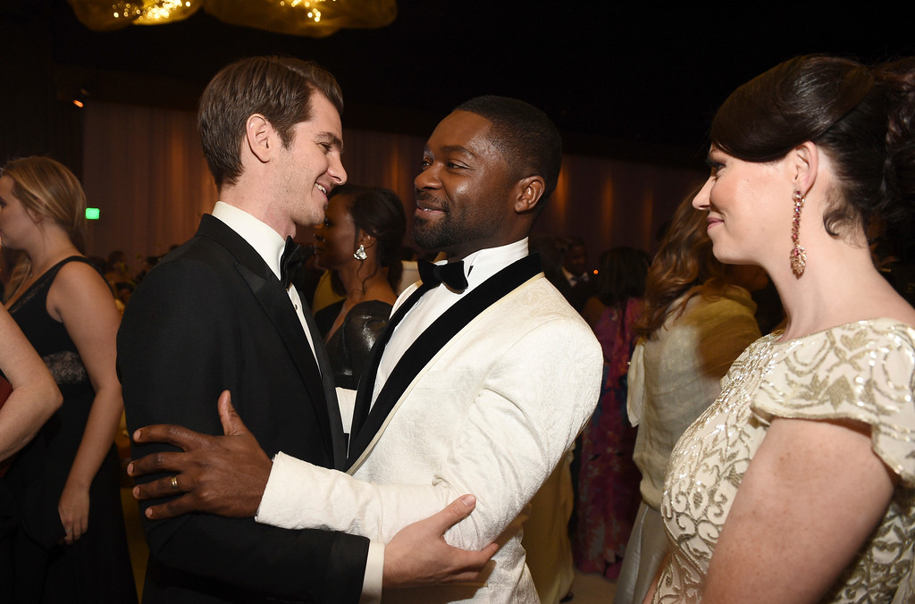 . Andrew Garfield, from left, David Oyelowo and Jessica Oyelowo attend the Governors Ball after the Oscars on Sunday, Feb. 26, 2017, at the Dolby Theatre in Los Angeles. (Photo by Al Powers/Invision/AP)