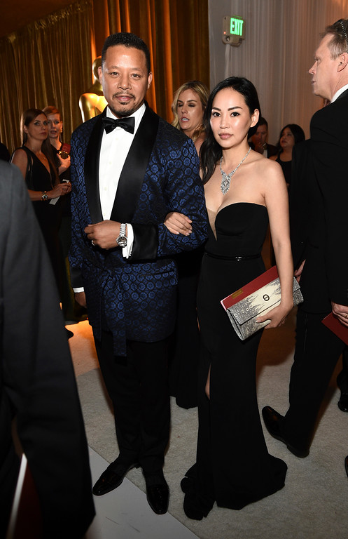 . Terrence Howard, left, and Miranda Pak attend the Governors Ball after the Oscars on Sunday, Feb. 26, 2017, at the Dolby Theatre in Los Angeles. (Photo by Al Powers/Invision/AP)