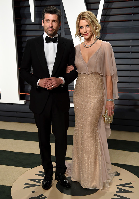 . Patrick Dempsey, left, and Jillian Fink arrive at the Vanity Fair Oscar Party on Sunday, Feb. 26, 2017, in Beverly Hills, Calif. (Photo by Evan Agostini/Invision/AP)