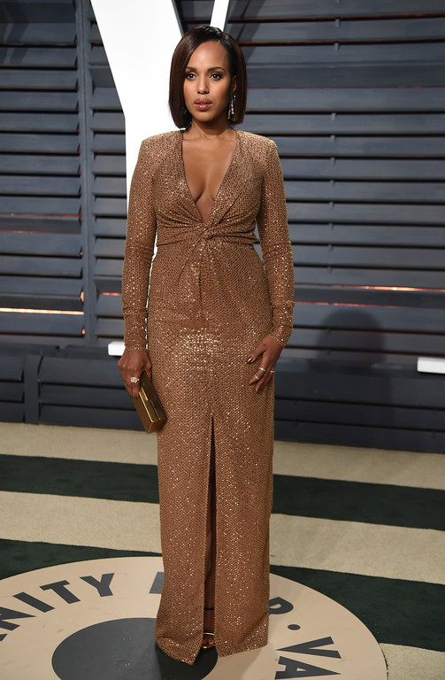 . Kerry Washington arrives at the Vanity Fair Oscar Party on Sunday, Feb. 26, 2017, in Beverly Hills, Calif. (Photo by Evan Agostini/Invision/AP)