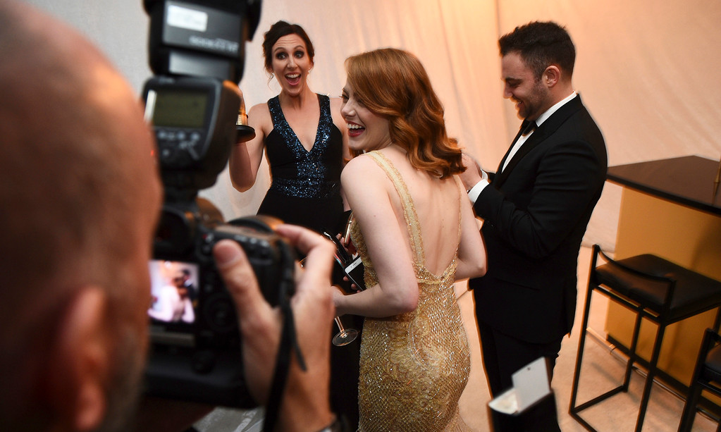 """. Emma Stone poses the award winner for best actress in a leading role for \""""La La Land attends the Governors Ball after the Oscars on Sunday, Feb. 26, 2017, at the Dolby Theatre in Los Angeles. (Photo by Al Powers/Invision/AP)"""