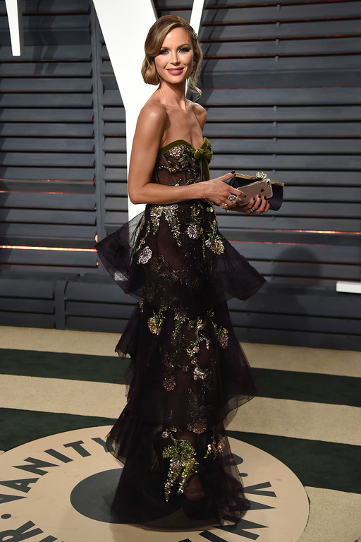. Model Georgina Chapman arrives at the Vanity Fair Oscar Party on Sunday, Feb. 26, 2017, in Beverly Hills, Calif. (Photo by Evan Agostini/Invision/AP)