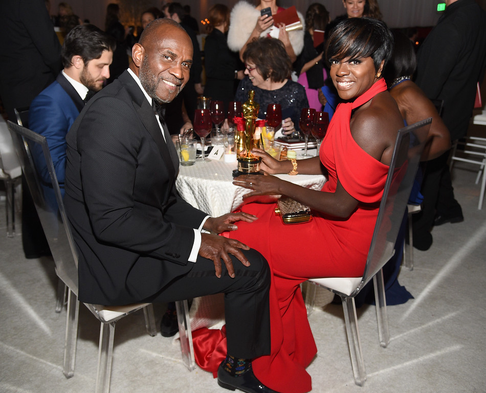 . HOLLYWOOD, CA - FEBRUARY 26:  Actor Viola Davis (R), winner of the award for Actress in a Supporting Role for \'Fences,\' and actor Julius Harris attend the 89th Annual Academy Awards Governors Ball at Hollywood & Highland Center on February 26, 2017 in Hollywood, California.  (Photo by Kevork Djansezian/Getty Images)
