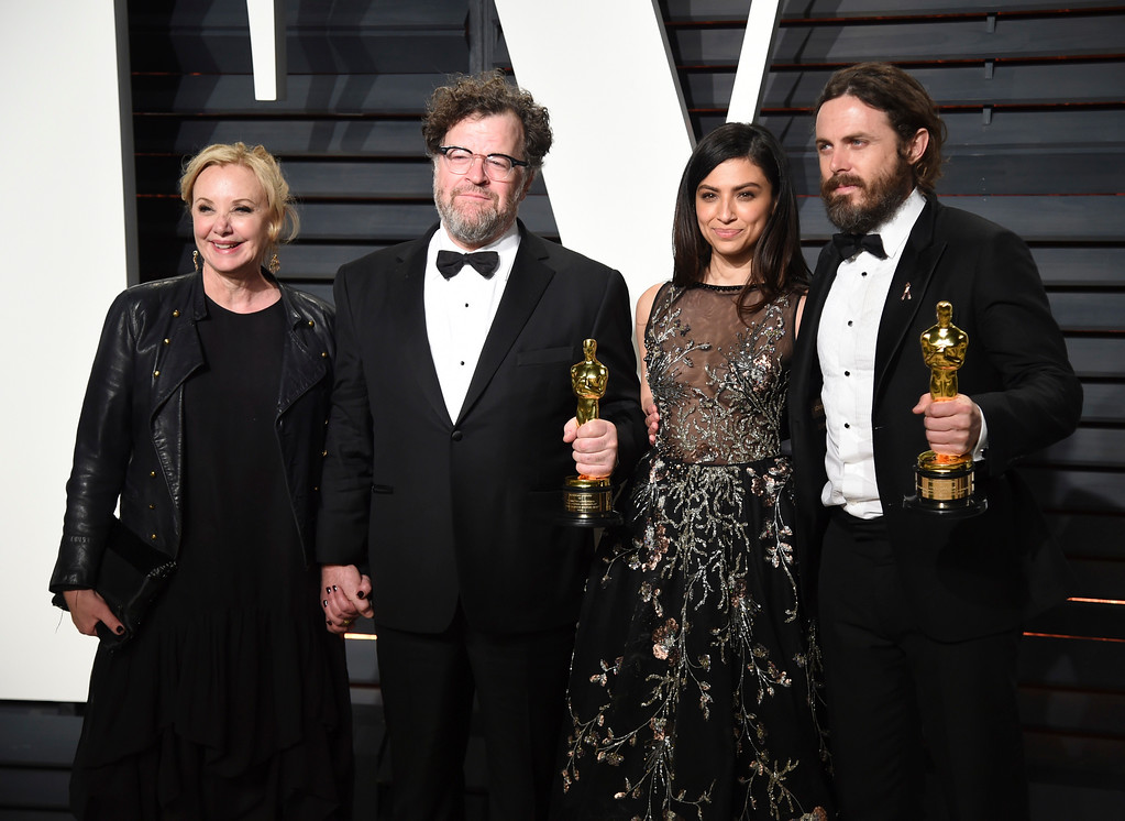 . J. Smith-Cameron, from left, Kenneth Lonergan, Floriana Lima, and Casey Affleck arrive at the Vanity Fair Oscar Party on Monday, Feb. 27, 2017, in Beverly Hills, Calif. (Photo by Evan Agostini/Invision/AP)