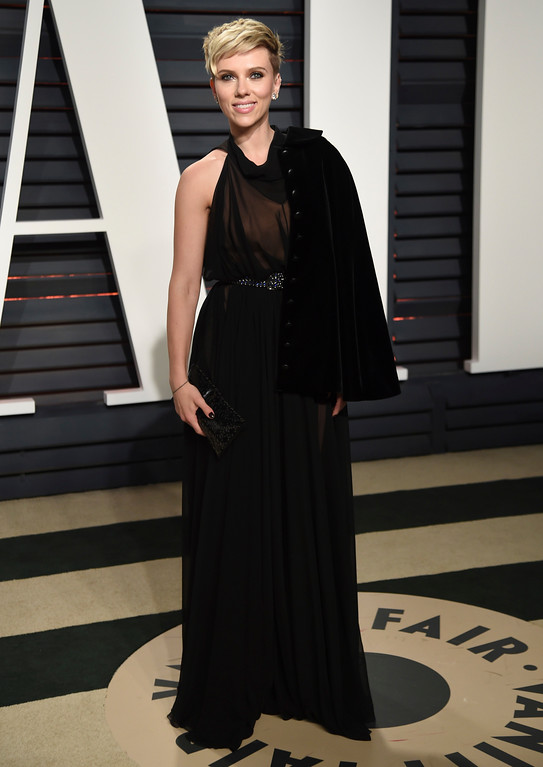 . Scarlett Johansson arrives at the Vanity Fair Oscar Party on Sunday, Feb. 26, 2017, in Beverly Hills, Calif. (Photo by Evan Agostini/Invision/AP)