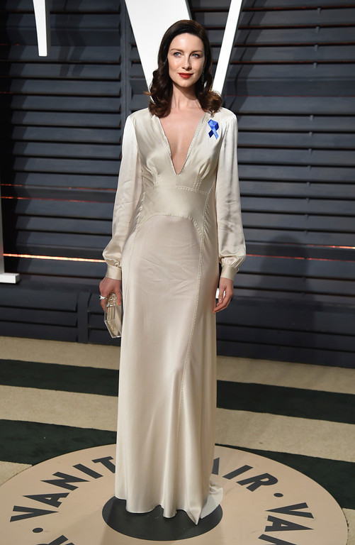 . Actress Caitriona Balfe arrives at the Vanity Fair Oscar Party on Sunday, Feb. 26, 2017, in Beverly Hills, Calif. (Photo by Evan Agostini/Invision/AP)