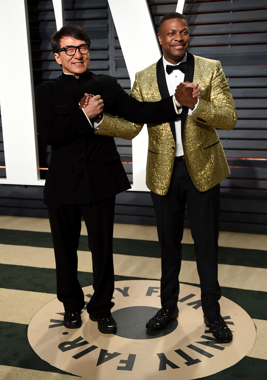 . Jackie Chan, left, and Chris Tucker arrive at the Vanity Fair Oscar Party on Sunday, Feb. 26, 2017, in Beverly Hills, Calif. (Photo by Evan Agostini/Invision/AP)