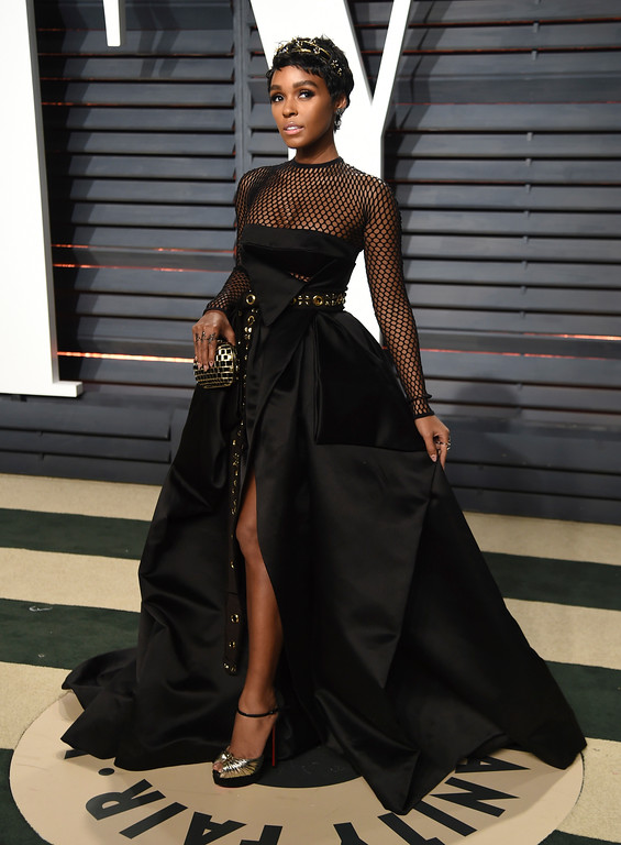 . Janelle Monae arrives at the Vanity Fair Oscar Party on Monday, Feb. 27, 2017, in Beverly Hills, Calif. (Photo by Evan Agostini/Invision/AP)
