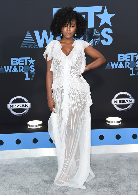 . Lovie Simone arrives at the BET Awards at the Microsoft Theater on Sunday, June 25, 2017, in Los Angeles. (Photo by Richard Shotwell/Invision/AP)