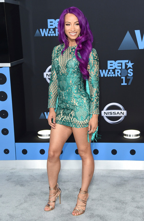 . Sasha Banks arrives at the BET Awards at the Microsoft Theater on Sunday, June 25, 2017, in Los Angeles. (Photo by Richard Shotwell/Invision/AP)