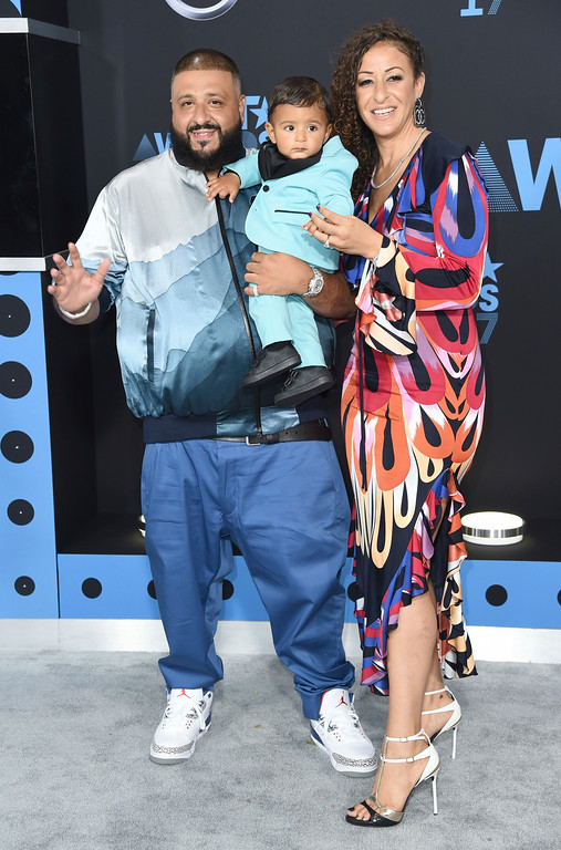 . DJ Khaled, from left, Nicole Tuck, right, and their son Asahd arrive at the BET Awards at the Microsoft Theater on Sunday, June 25, 2017, in Los Angeles. (Photo by Richard Shotwell/Invision/AP)