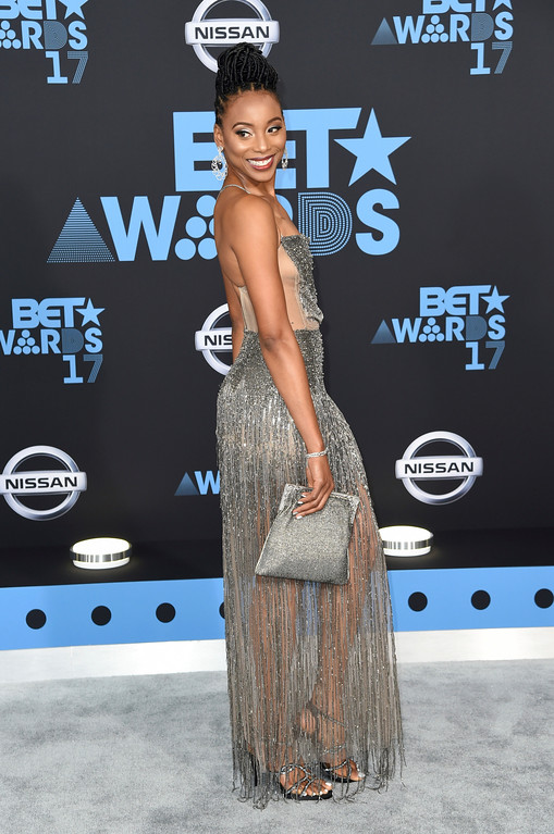 . Erica Ash arrives at the BET Awards at the Microsoft Theater on Sunday, June 25, 2017, in Los Angeles. (Photo by Richard Shotwell/Invision/AP)