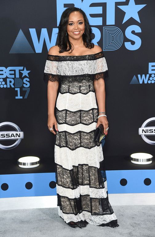 . Faith Jenkins arrives at the BET Awards at the Microsoft Theater on Sunday, June 25, 2017, in Los Angeles. (Photo by Richard Shotwell/Invision/AP)