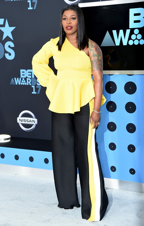 . Ta\'Rhonda Jones arrives at the BET Awards at the Microsoft Theater on Sunday, June 25, 2017, in Los Angeles. (Photo by Richard Shotwell/Invision/AP)