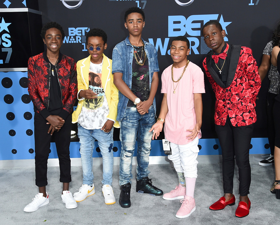 . Caleb McLaughlin, from left, Jahi Di\'Allo Winston, Myles Truitt, Dante Hoagland and Tyler Marcel Williams arrive at the BET Awards at the Microsoft Theater on Sunday, June 25, 2017, in Los Angeles. (Photo by Richard Shotwell/Invision/AP)