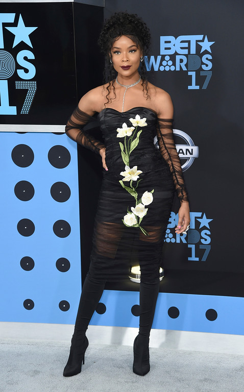 . Ajiona Alexus arrives at the BET Awards at the Microsoft Theater on Sunday, June 25, 2017, in Los Angeles. (Photo by Richard Shotwell/Invision/AP)