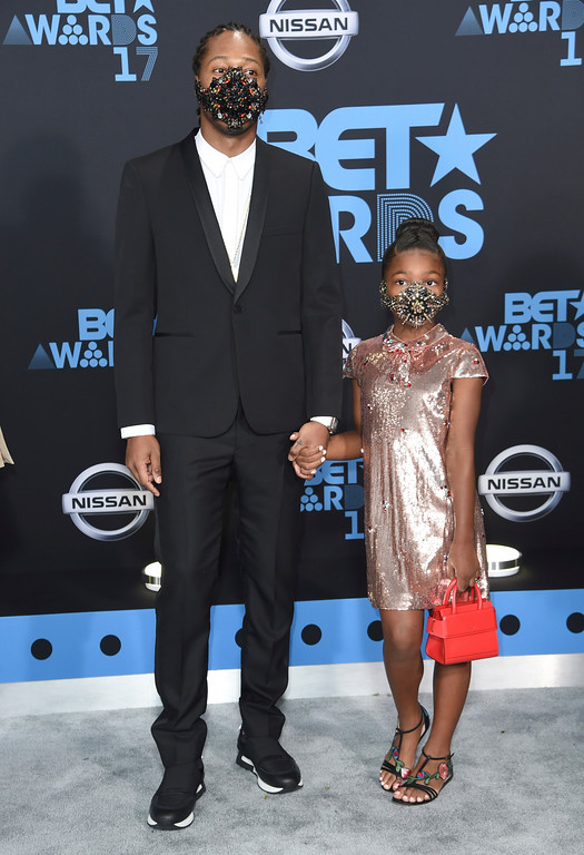 . Future, left, and daughter Londyn arrive at the BET Awards at the Microsoft Theater on Sunday, June 25, 2017, in Los Angeles. (Photo by Richard Shotwell/Invision/AP)