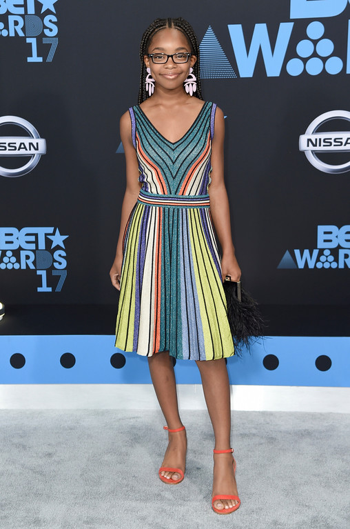 . Marsai Martin arrives at the BET Awards at the Microsoft Theater on Sunday, June 25, 2017, in Los Angeles. (Photo by Richard Shotwell/Invision/AP)