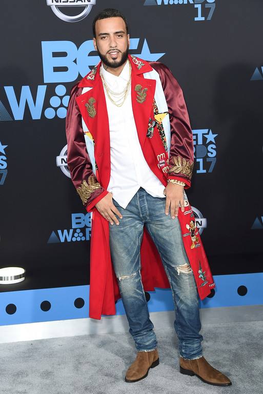 . French Montana arrives at the BET Awards at the Microsoft Theater on Sunday, June 25, 2017, in Los Angeles. (Photo by Richard Shotwell/Invision/AP)