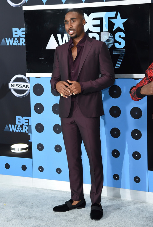 . Demetrius Shipp Jr. arrives at the BET Awards at the Microsoft Theater on Sunday, June 25, 2017, in Los Angeles. (Photo by Richard Shotwell/Invision/AP)