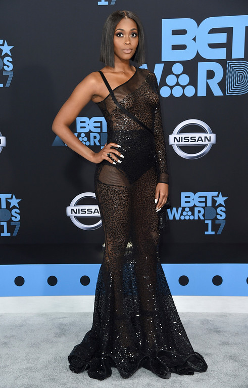. Nafessa Williams arrives at the BET Awards at the Microsoft Theater on Sunday, June 25, 2017, in Los Angeles. (Photo by Richard Shotwell/Invision/AP)