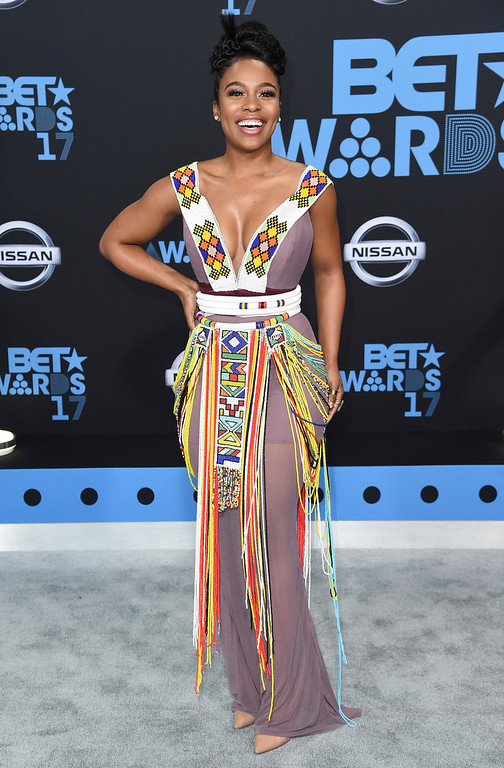 . Nomzamo Mbatha arrives at the BET Awards at the Microsoft Theater on Sunday, June 25, 2017, in Los Angeles. (Photo by Richard Shotwell/Invision/AP)