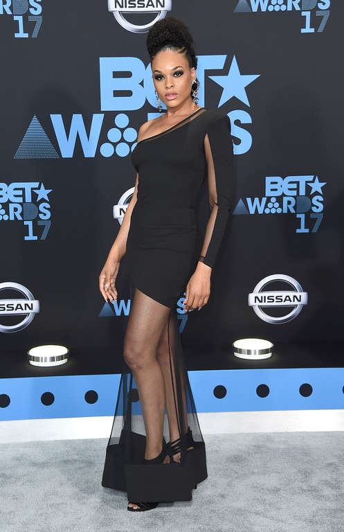 . Demetria McKinney arrives at the BET Awards at the Microsoft Theater on Sunday, June 25, 2017, in Los Angeles. (Photo by Richard Shotwell/Invision/AP)