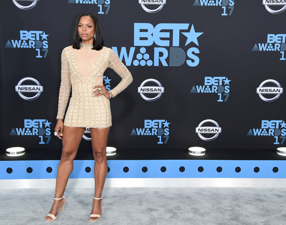 . LaTina Webb arrives at the BET Awards at the Microsoft Theater on Sunday, June 25, 2017, in Los Angeles. (Photo by Richard Shotwell/Invision/AP)
