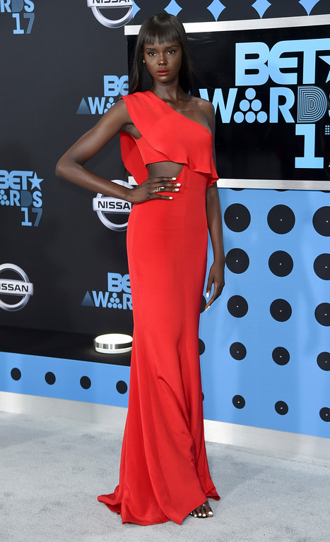 . Duckie Thot arrives at the BET Awards at the Microsoft Theater on Sunday, June 25, 2017, in Los Angeles. (Photo by Richard Shotwell/Invision/AP)