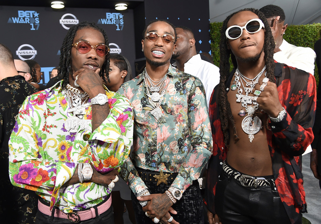 . Offset, from left, Quavo and Takeoff, of Migos, arrive at the BET Awards at the Microsoft Theater on Sunday, June 25, 2017, in Los Angeles. (Photo by Richard Shotwell/Invision/AP)