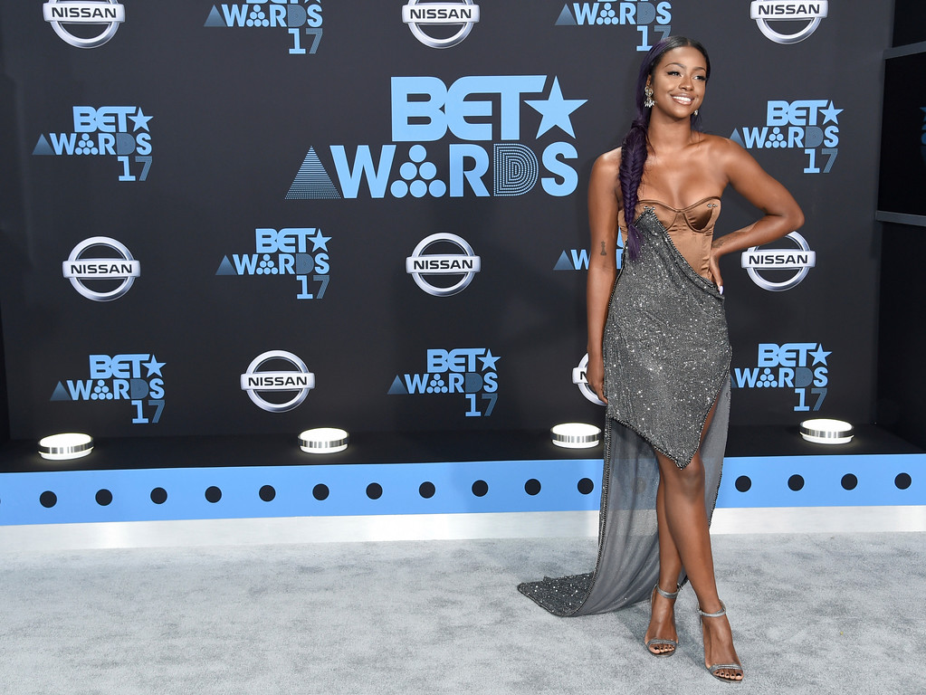 . Justine Skye arrives at the BET Awards at the Microsoft Theater on Sunday, June 25, 2017, in Los Angeles. (Photo by Richard Shotwell/Invision/AP)