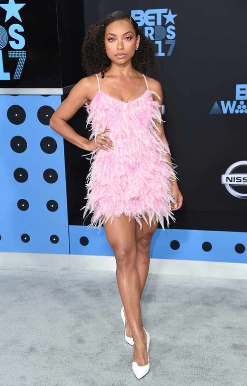 . Logan Browning arrives at the BET Awards at the Microsoft Theater on Sunday, June 25, 2017, in Los Angeles. (Photo by Richard Shotwell/Invision/AP)