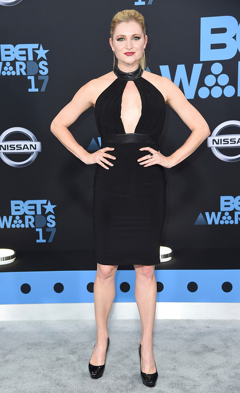 . Katherine Bailess arrives at the BET Awards at the Microsoft Theater on Sunday, June 25, 2017, in Los Angeles. (Photo by Richard Shotwell/Invision/AP)