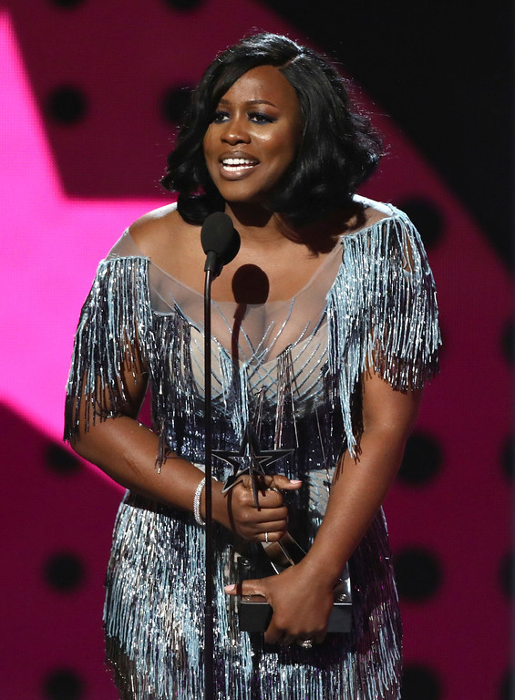 . Remy Ma accepts the award for best female hip hop artist at the BET Awards at the Microsoft Theater on Sunday, June 25, 2017, in Los Angeles. (Photo by Matt Sayles/Invision/AP)
