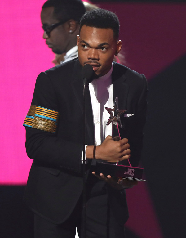 . Chance The Rapper accepts the award for best new artist at the BET Awards at the Microsoft Theater on Sunday, June 25, 2017, in Los Angeles. (Photo by Matt Sayles/Invision/AP)