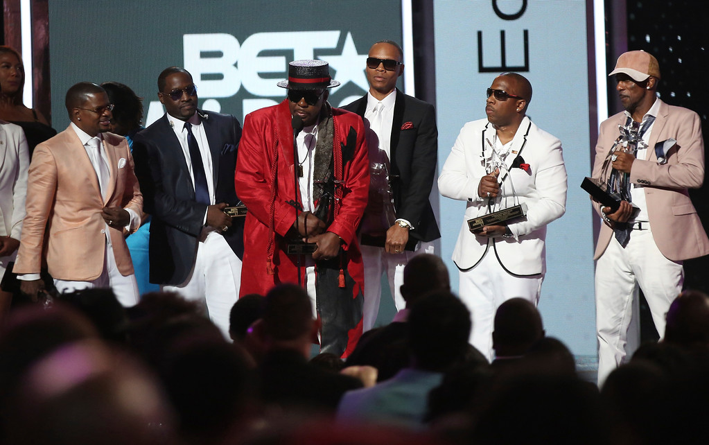. Ricky Bell, from left, Johnny Gill, Bobby Brown, Ronnie DeVoe, Michael Bivins and Ralph Tresvant, of New Edition, accept the lifetime achievement award at the BET Awards at the Microsoft Theater on Sunday, June 25, 2017, in Los Angeles. (Photo by Matt Sayles/Invision/AP)