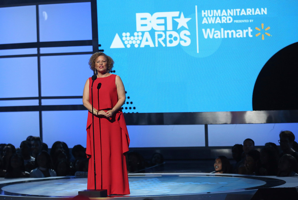 . Debra Lee, chairman and CEO, BET, presents the humanitarian award at the BET Awards at the Microsoft Theater on Sunday, June 25, 2017, in Los Angeles. (Photo by Matt Sayles/Invision/AP)